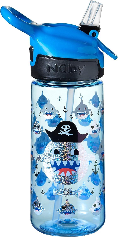 Nuby Kids botella de agua para la escuela, sin BPA, tiburón