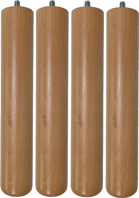 venixsoft Set di 4 Pezzi Piedi Faggio H 29 cm per Reti a Doghe in Legno-Verniciatura a Basso Impatto Ambientale