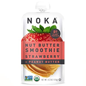 NOKA Nut Butter Fruit Smoothie Pouches (Strawberry Peanut Butter) 12 Pack | Healthy Snack Squeeze Packs | Meal Replacement | 100% Organic, Non GMO, Gluten Free, Vegan, 8g Plant Protein | 4.22oz Each