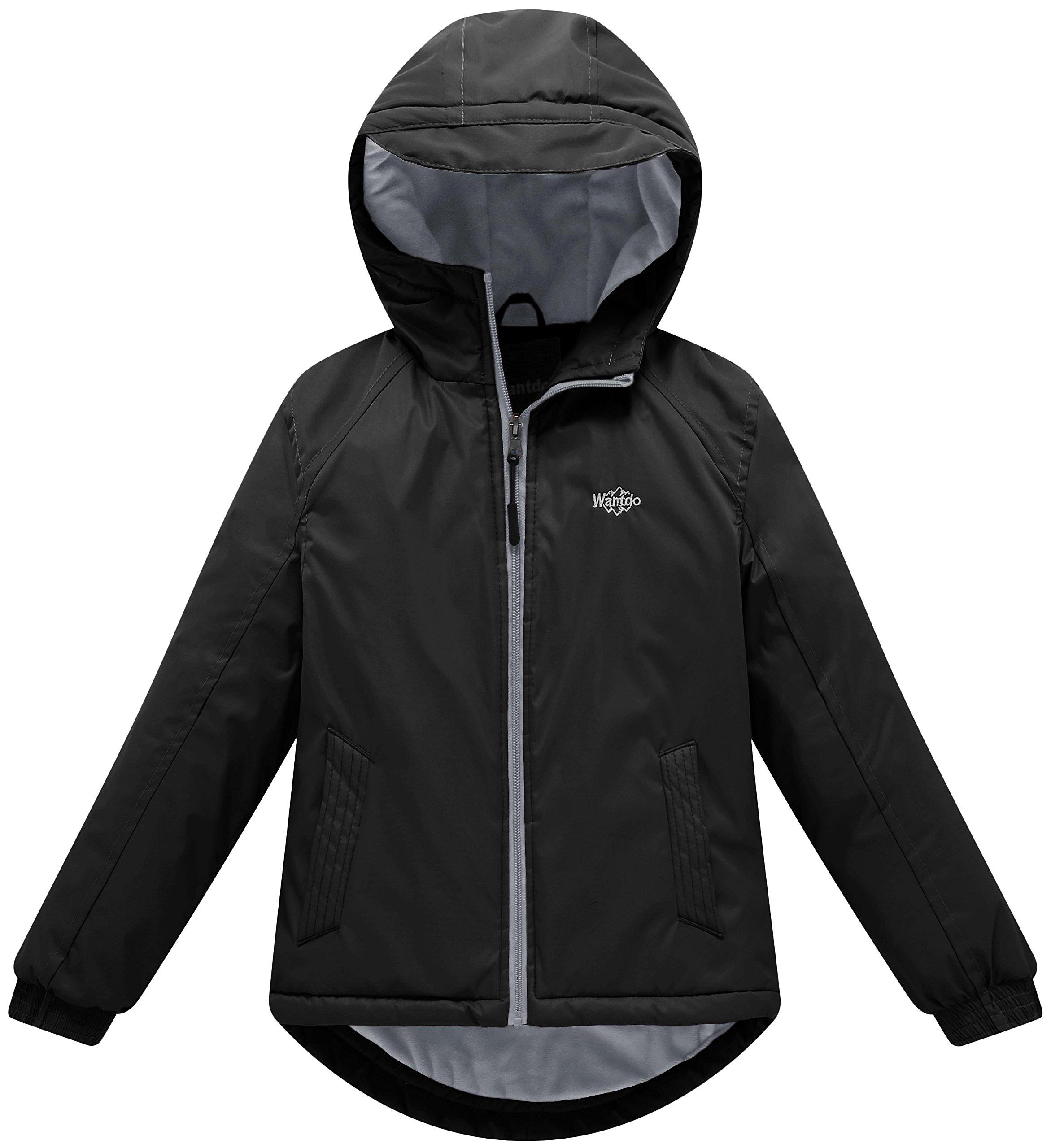 Wantdo Girl's Waterproof Fleece Lining Ski Jacket Hooded Wind Breaker Outerwear(Black, 8)