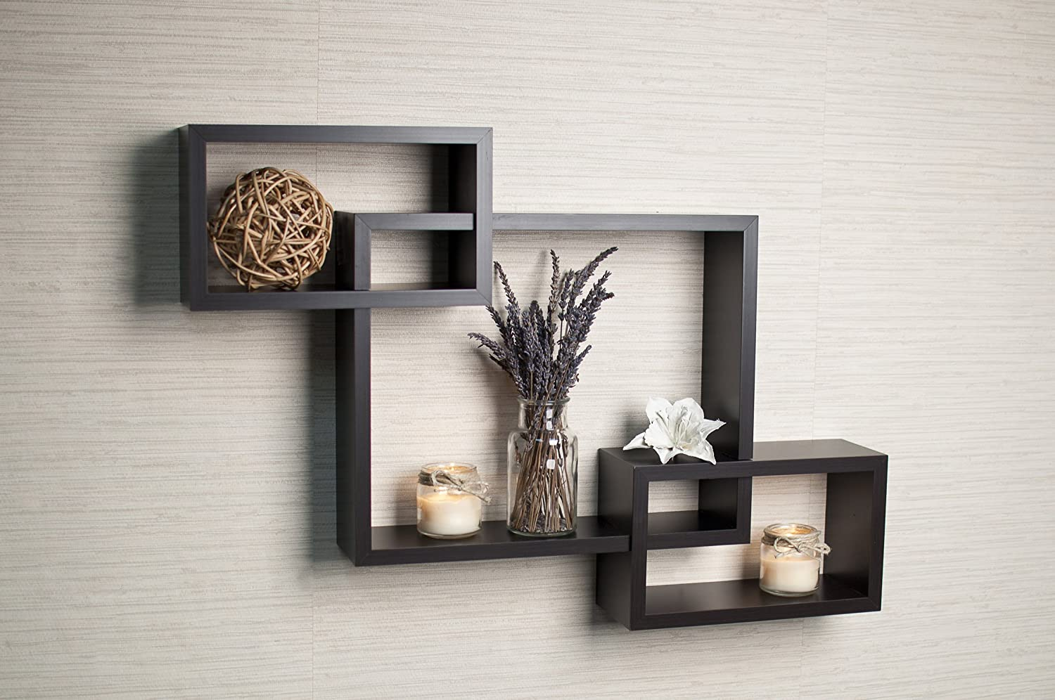 Wall Decor For Home Amazoncom Danya B Intersecting White Laminate Wall Shelf Home