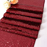 DUOBAO Sequin-Table-Runner-Burgundy Event Table Runner 12x120-Inch Sequins Cake Table Runner Sequien Table Runner Party…