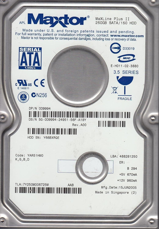 Maxtor 250GB SATA 3.5 Hard Drive 7Y250M0 KGBD Code YAR51HW0