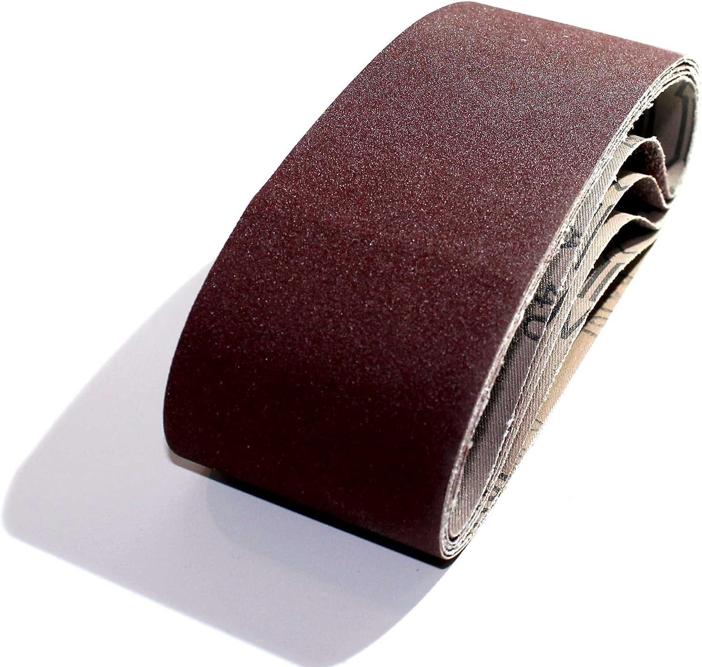 80-120 180-240 10 x 330 mm Lot de 12 bandes abrasives en tissu 2 grains de 40-60 Compatible avec limes /à ruban // papier abrasif