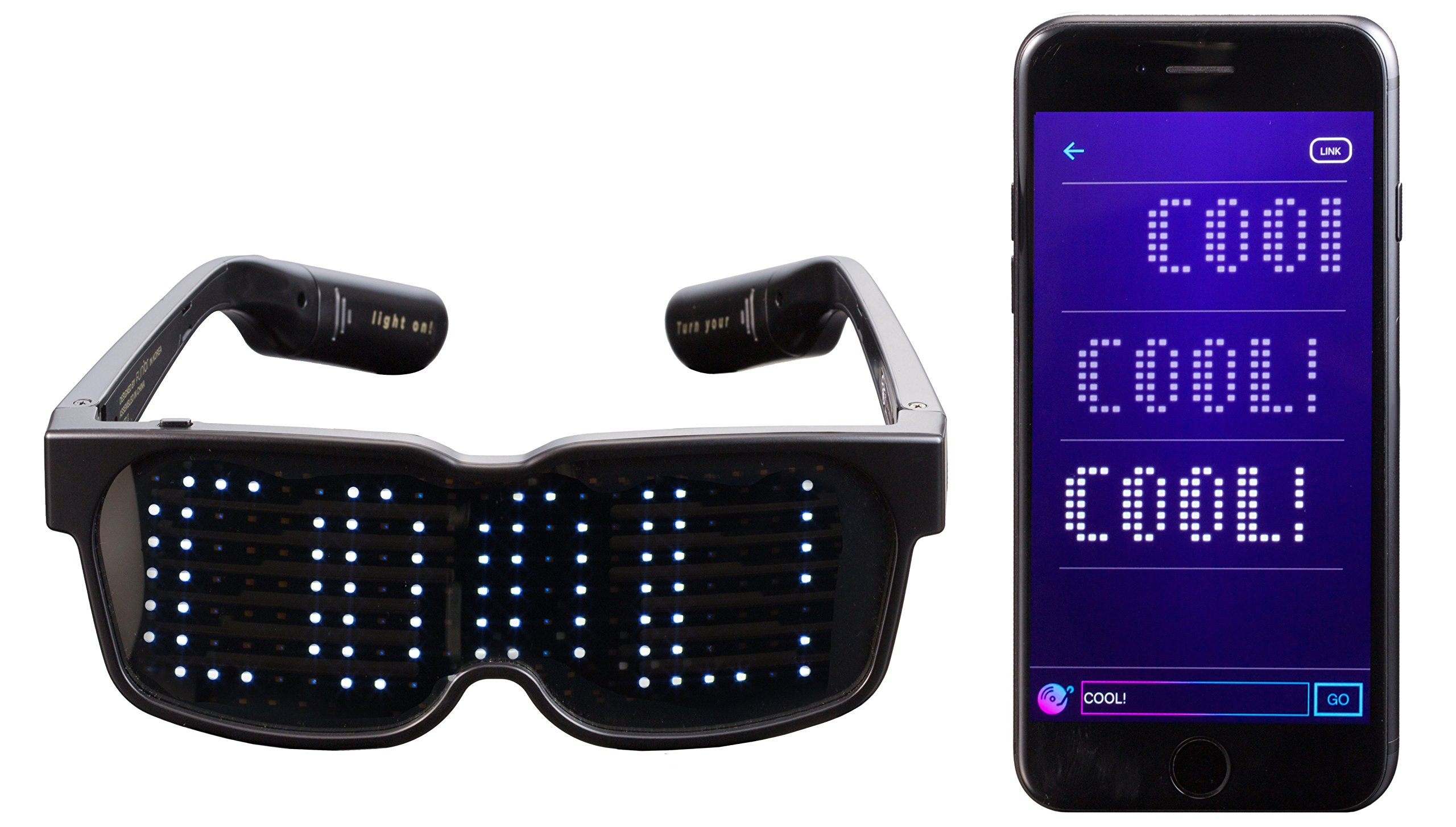 CHEMION - Customizable Bluetooth LED Glasses for Raves, Festivals, Fun, Parties, Sports, Costumes, EDM, Flashing - Display Messages, Animation, Drawings! by CHEMION