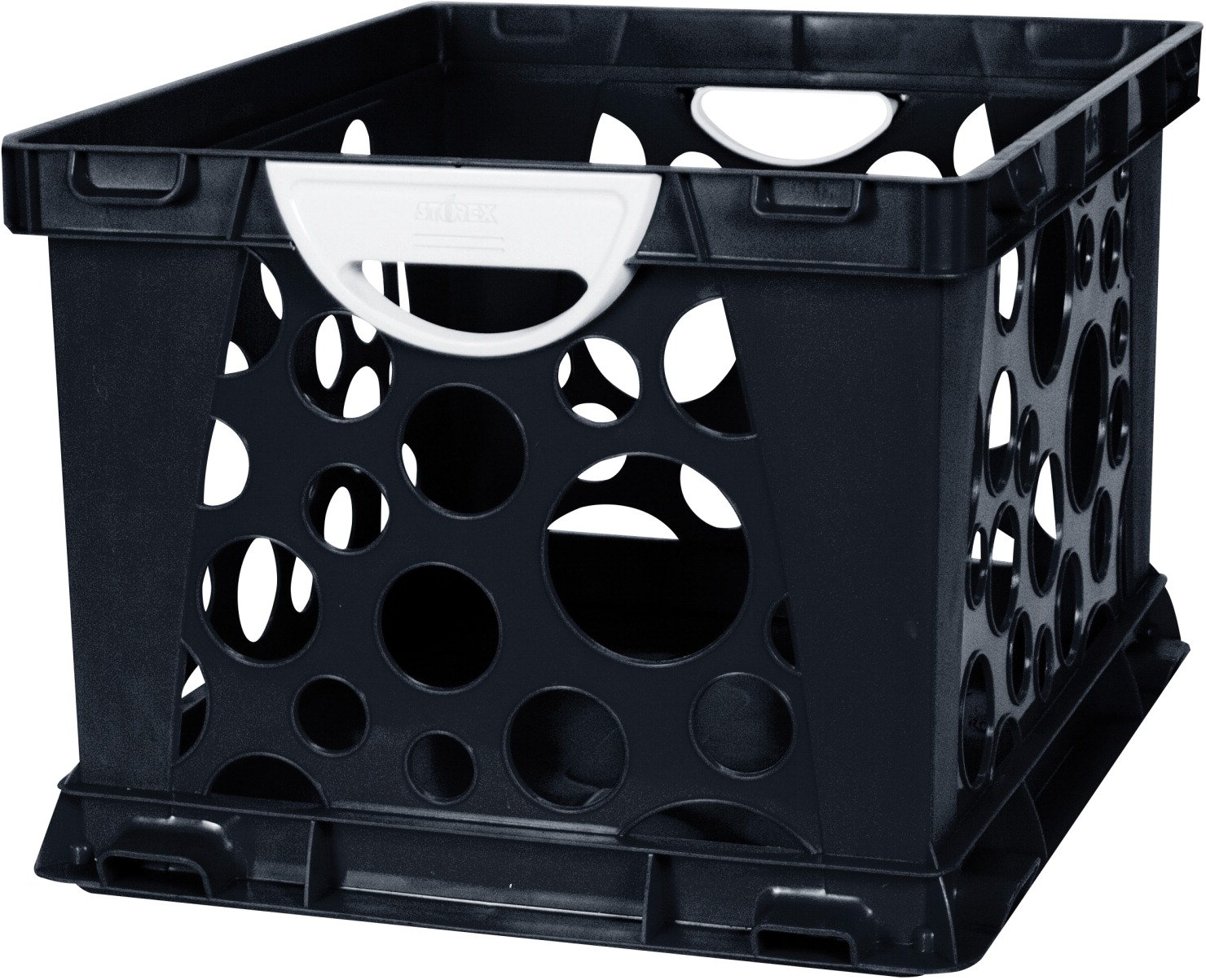 Storex 2-Color Large Crate with Handles, Black/White