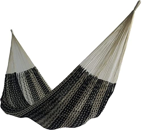 Savannah Large Thick Cord Mayan Hammock Black and Natural