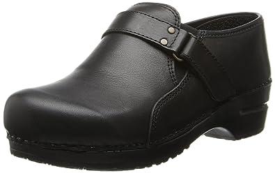 Sanita Womens Size 36 US 5.5-6 Black Brown Leather Nursing Clogs