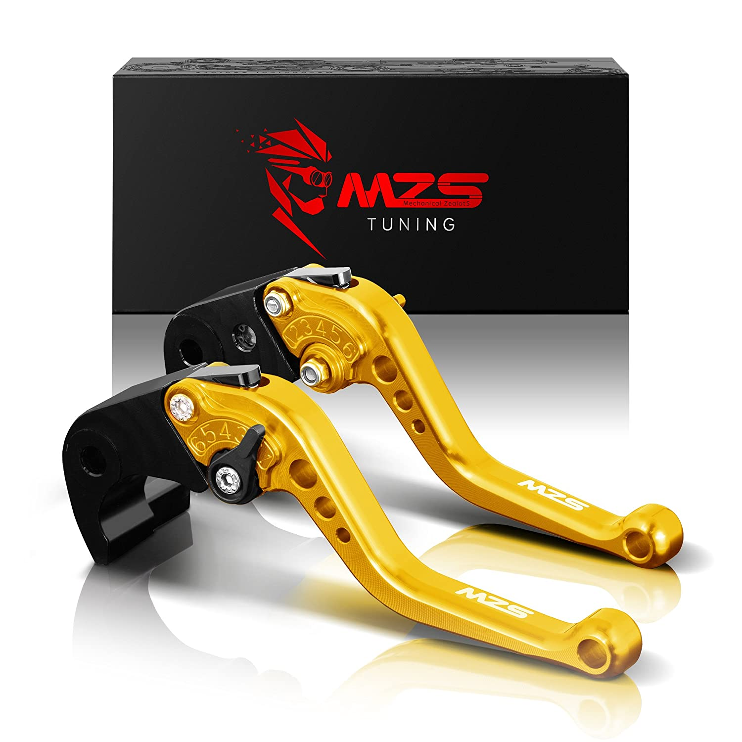 MZS Short Brake Clutch Levers for Yamaha YZF R1 2004-2008, YZF R6 2005-2016-Gold
