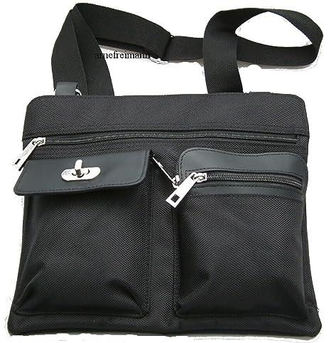 a0a7ebc1a982c Flache Handtasche Umhängetasche Reisedokumententasche Tasche schwarz ...