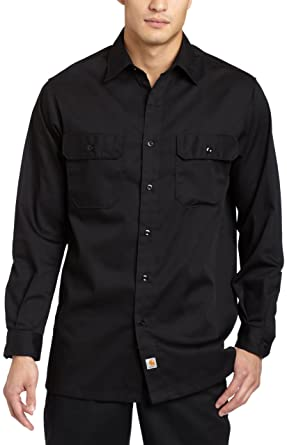 6f278f5f04 Carhartt Men s Big   Tall Twill Long Sleeve Relaxed Fit Work Shirt Button  Front
