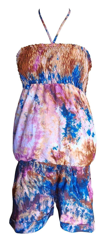 SURNOSE Hand Tie dye Printed Short Tube Dress Smoked Sundress