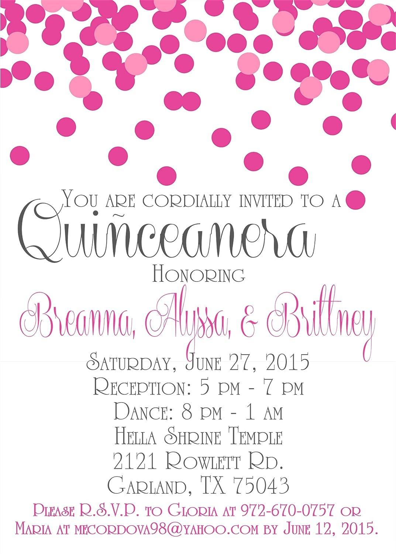 Pink Confetti Quinceanera Invitations