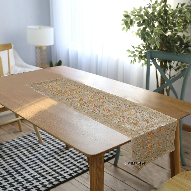 FashionShopmart 刺繍 シルクテーブルランナー 18 x 72インチ ウェディング宴会の装飾に 明るいシルクと滑らかな生地 パーティーテーブルランナー ホワイト   B07HV4ZJ77