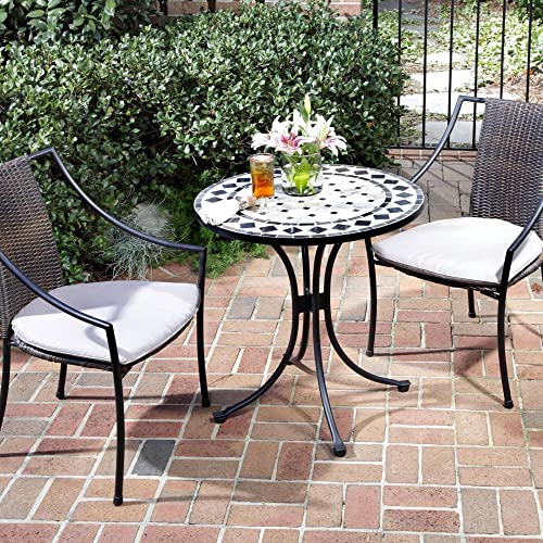Home Styles Three Piece Outdoor Bistro Set with Marble Tiles Design Table Top and Laguna Slope Arm Chairs