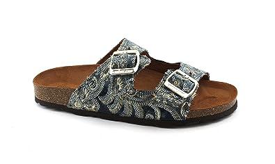 Grunland SARA CB1667 multi pantoufles gris femmes boules boucles anatomi Grigio - Chaussures Mules Femme