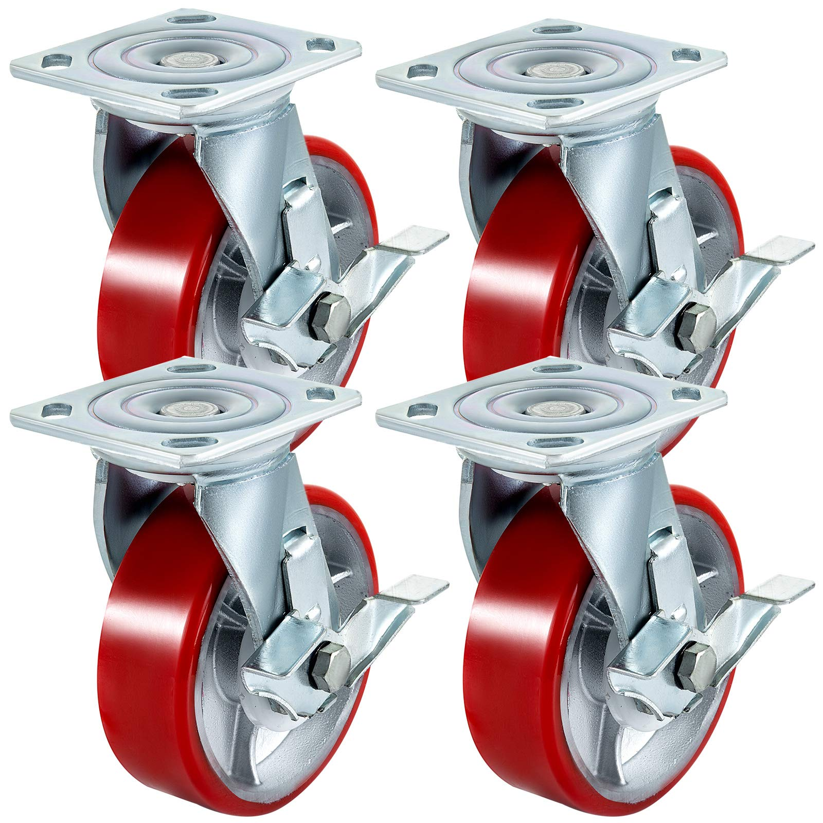 BestEquip 4 Pack Caster Wheels 6'' x 2'' with Side Brake Polyurethane Swivel Caster 360 Degrees Heavy Duty Casters Iron Core Top Plate 1000LBS Capacity Per Wheel for Warehousing and Industrial Equipment