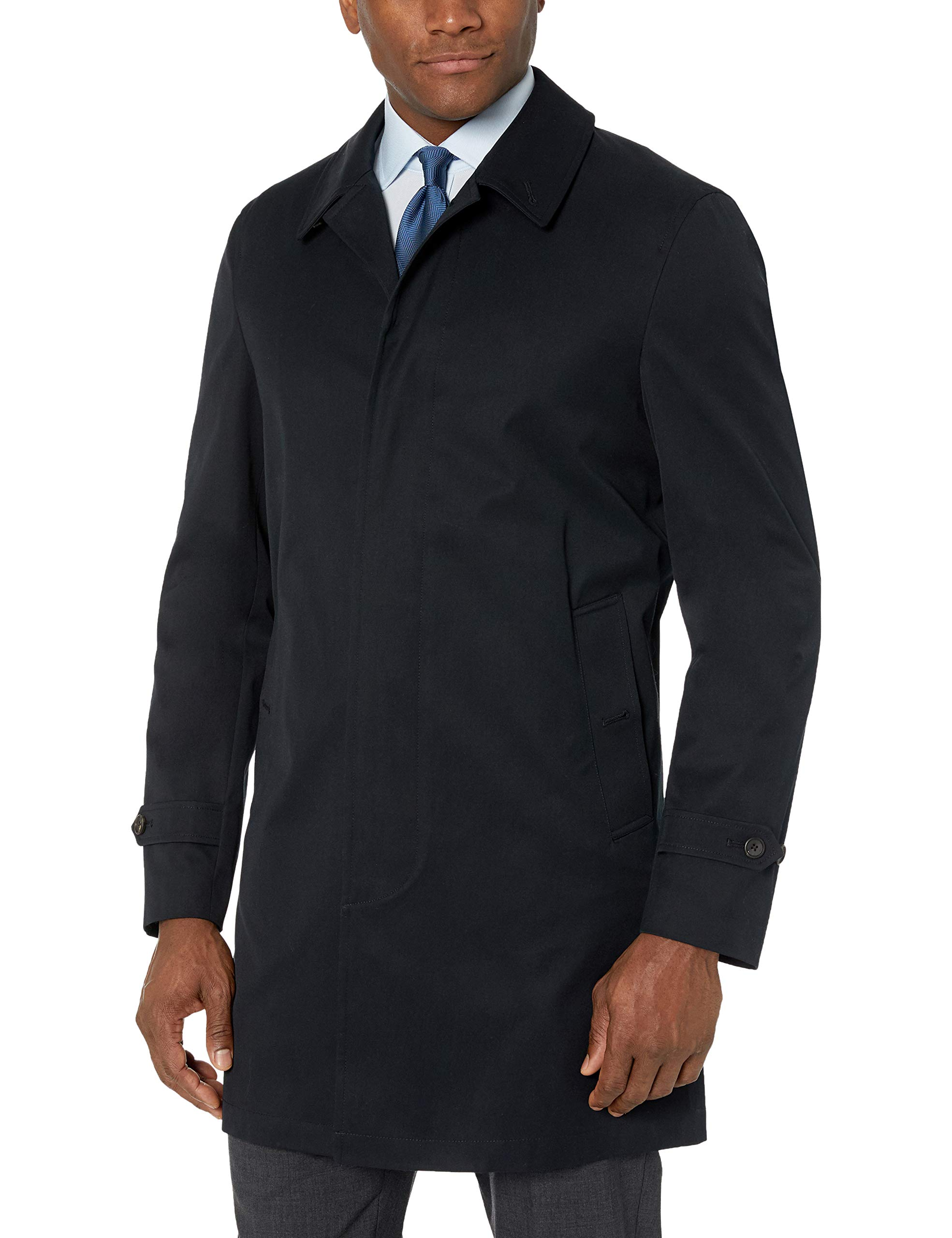 BUTTONED DOWN Men's Water-Repellant Cotton-Blend Car Coat, Black, 46 Regular by Buttoned Down