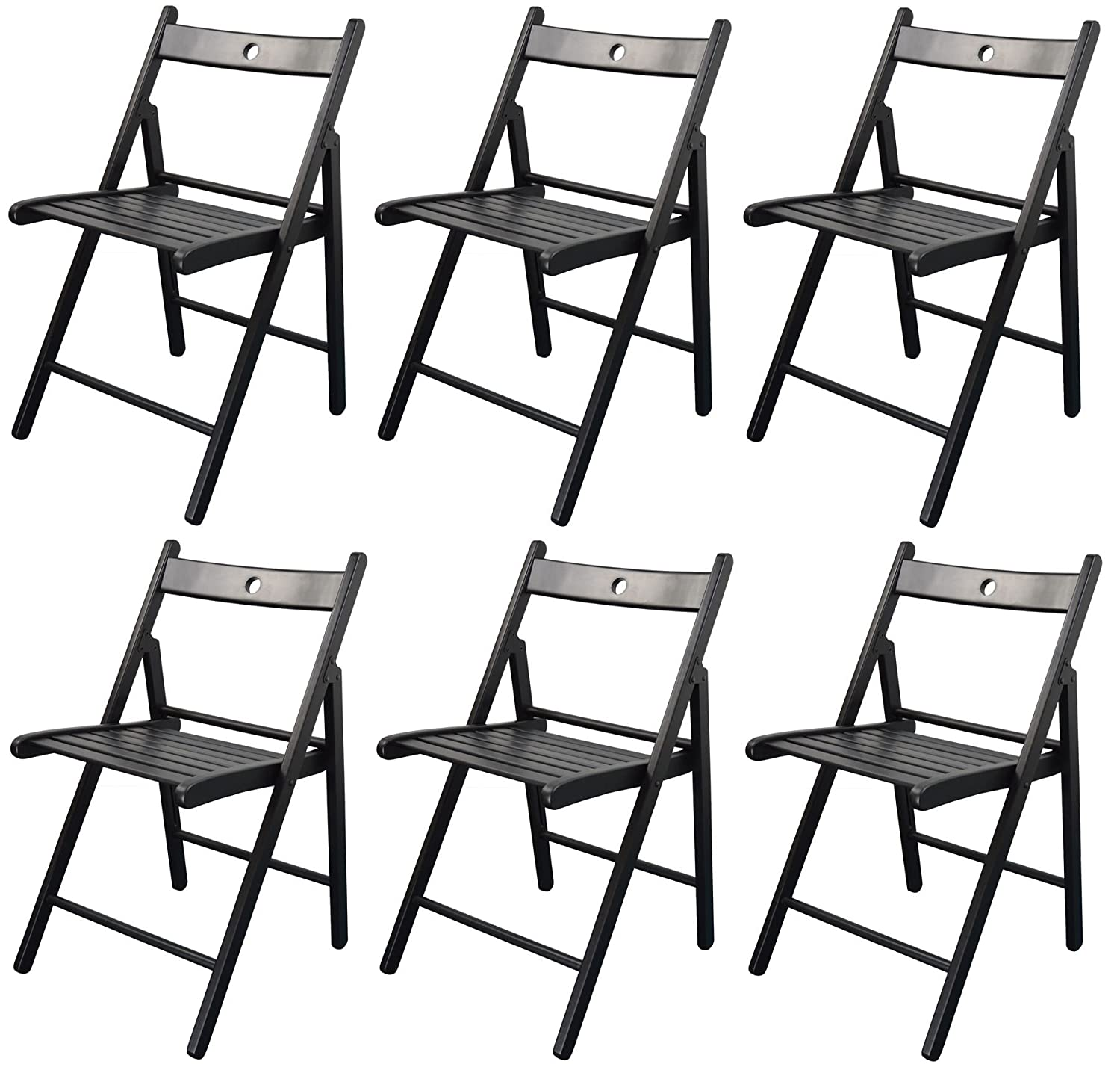 Harbour Housewares Wooden Folding Chairs - Black Wood Colour - Pack of 6…