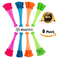 MUSTFIT Water Bunch Balloons NEW UPDATE 2018-8 Bunch Makes 296 Quick Fill Self Sealing Water Balloons 3 Minutes - Hot Summer Fun Toy Set