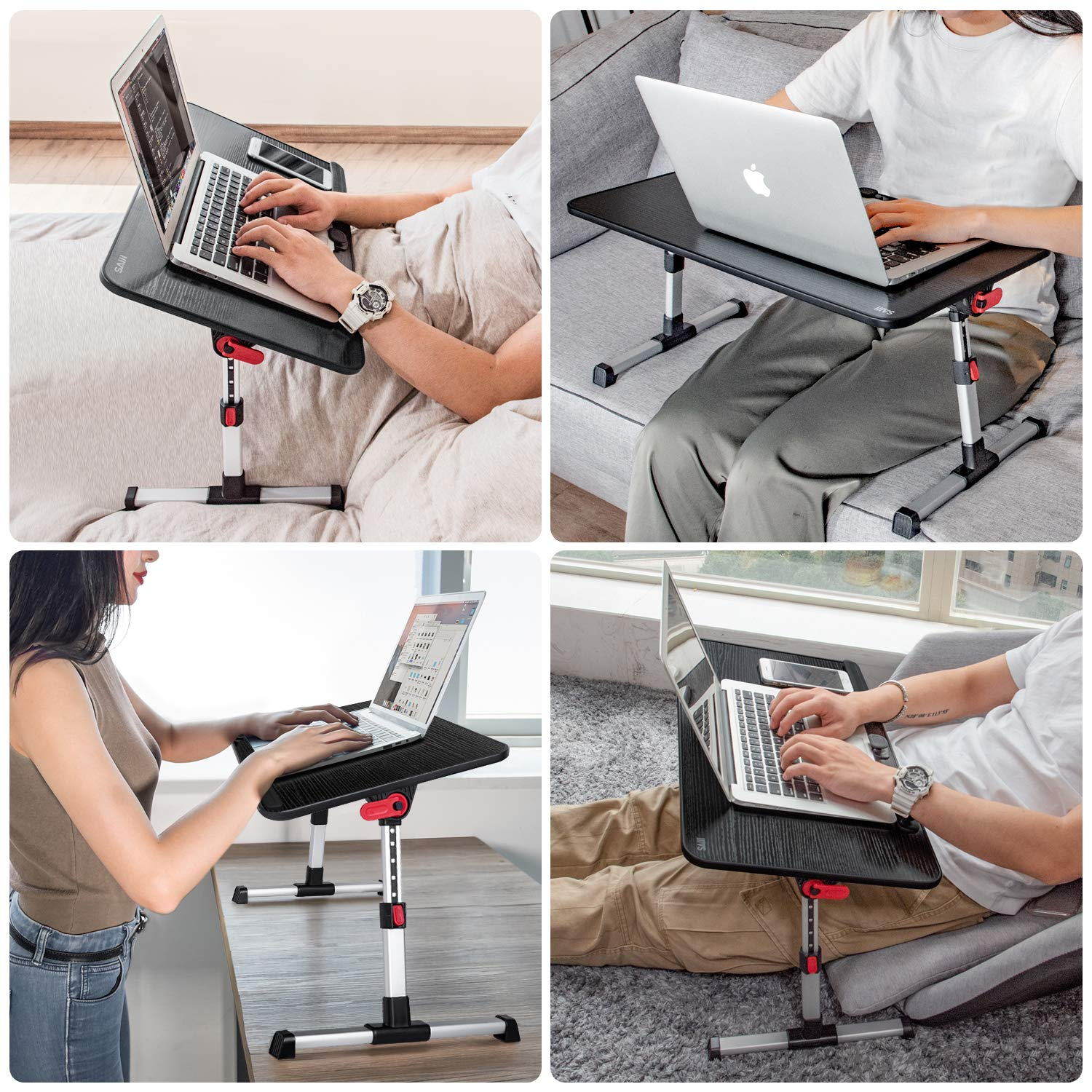 Laptop Bed Tray Table, SAIJI Adjustable Laptop Stand, Portable Lap Desks with Foldable Legs