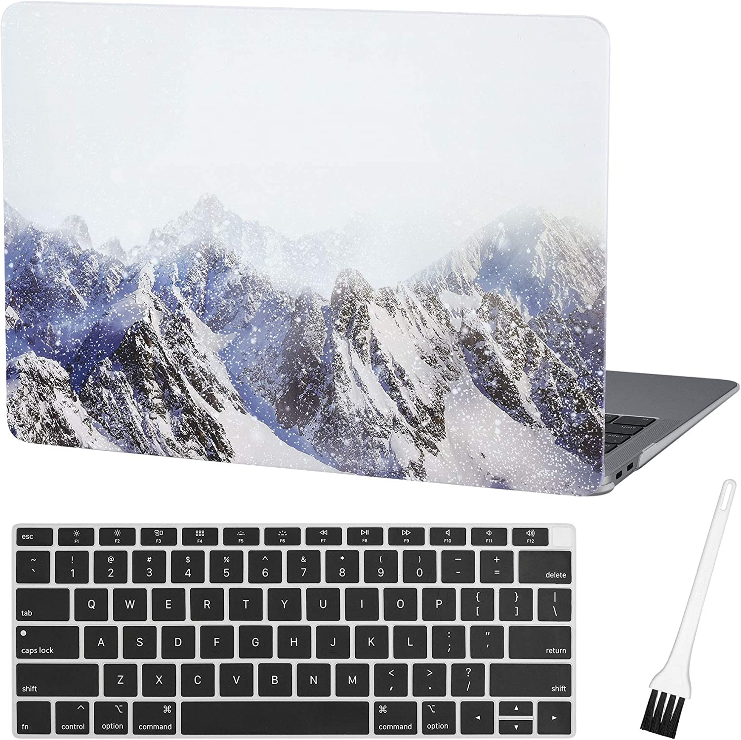 MacBook air 13 Inch Case A1932 Plastic Laptop Hard Shell Cover Sleeve Matte Rubberized (2020 2019 2018 Release, Touch ID) with Silicon Keyboard Cover and Dust Brush(Snow Mountain)