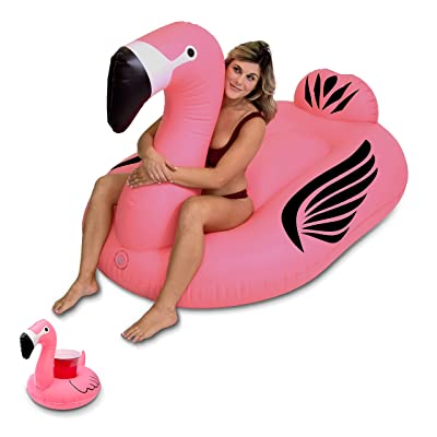 GoFloats Giant Inflatable Flamingo Pool Float | Raft Includes Bonus Flamingo Drink Float | Swimming Fun for Kids and Adults: Sports & Outdoors
