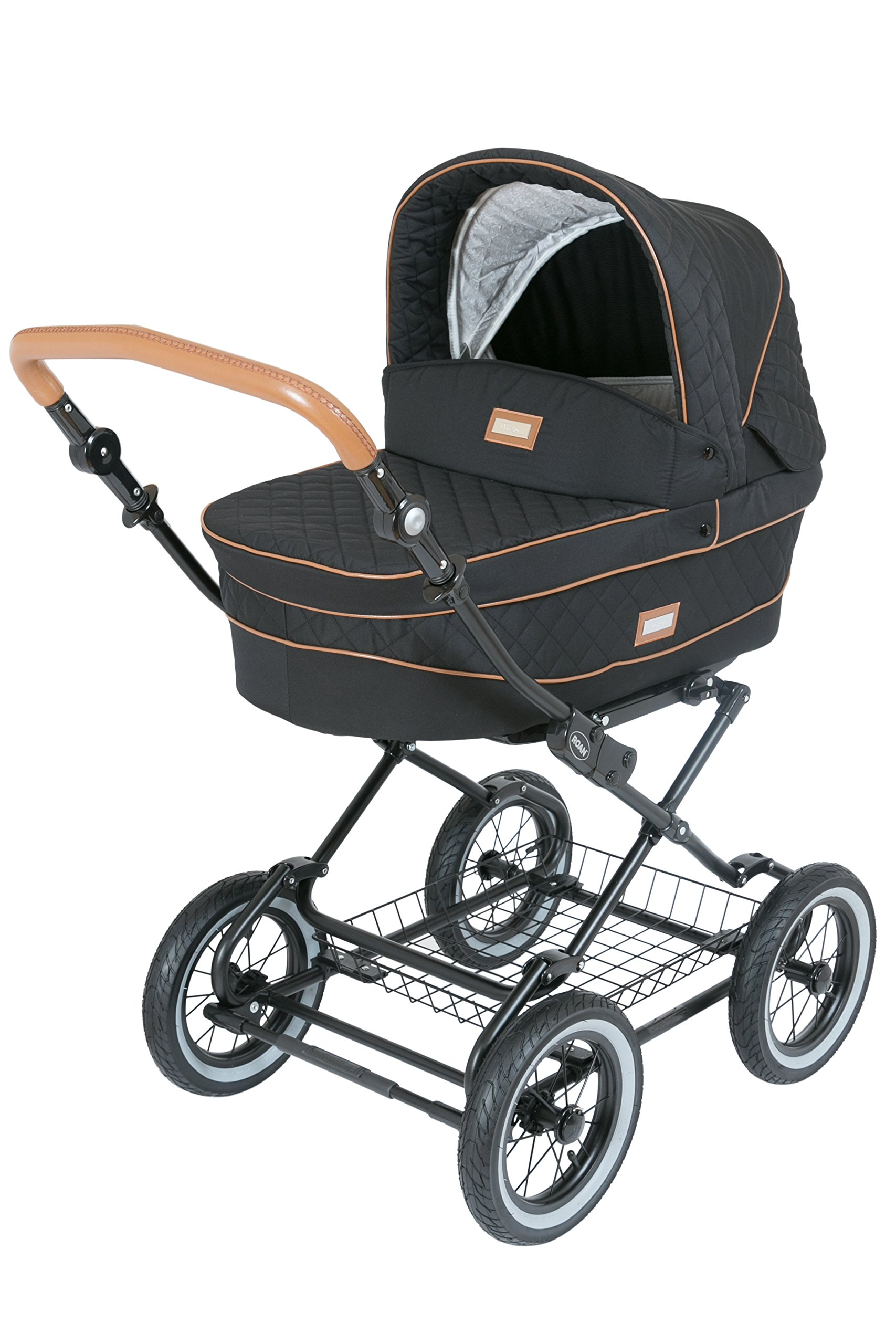 Luxury Roan Kortina 2-in-1 Pram Stroller Pushchair with Big Baby Bassinet and Toddler Reclining Seat with Five Point Safety System UV Proof Canopy and Storage Basket for child up to 3 year (graphite) by ROAN (Image #3)