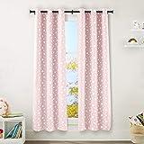 "AmazonBasics Kids Room Darkening Blackout Window Curtain Set with Grommets - 42"" x 84"", Blush Pink Stars"