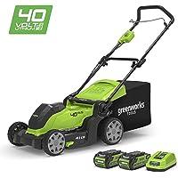 Greenworks Tondeuse à gazon sans fil sur batterie 41cm 40V Lithium-ion avec 2 batteries 2Ah et chargeur - 2504707UC