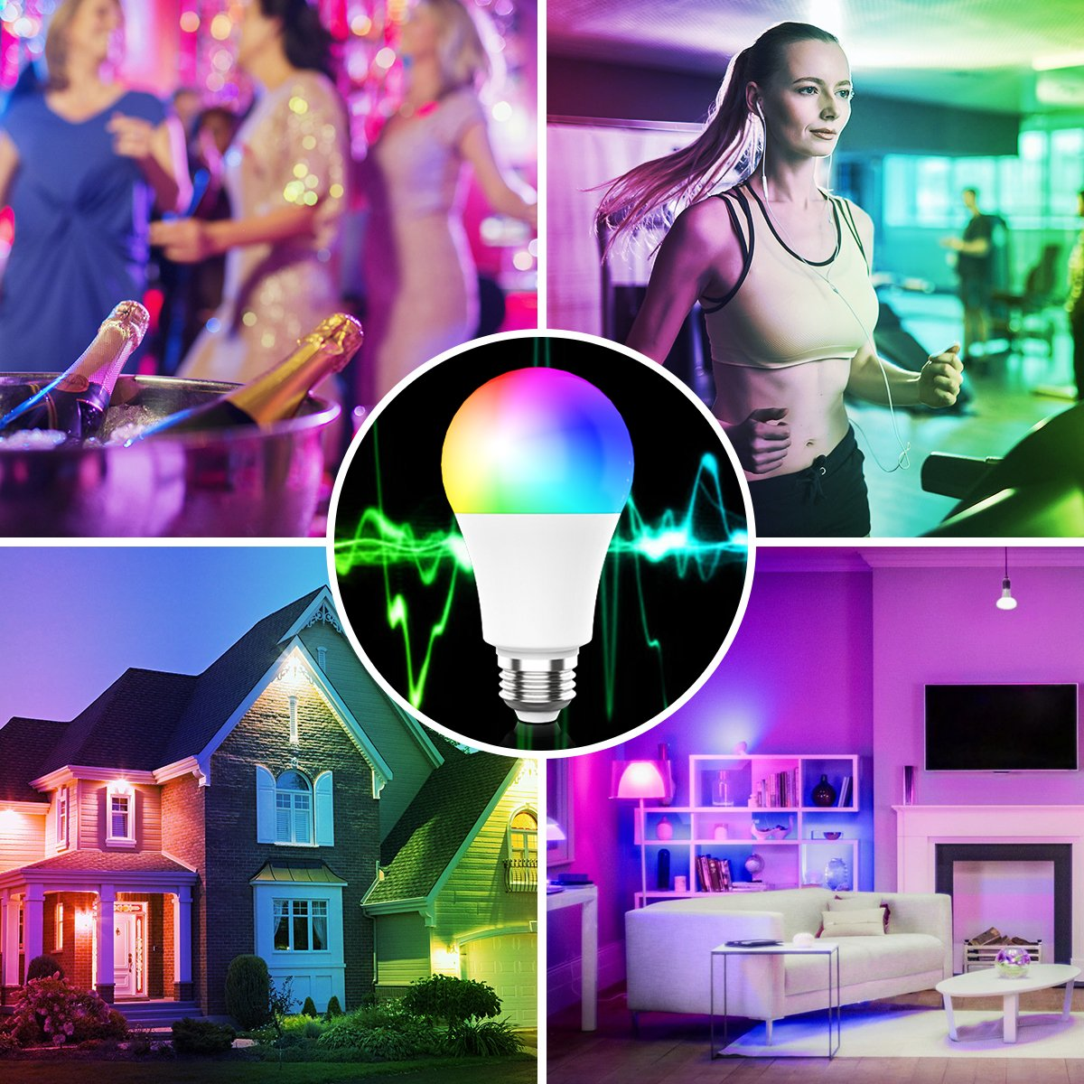 Novostella Smart Light Bulb, RGBCW Wi-Fi LED Bulb A19[7W 600LM] Dimmable Multicolored Lights, No Hub Required, Works with Amazon Alexa and Google Home, 60W Equivalent (3 Pack) by NOVOSTELLA (Image #7)