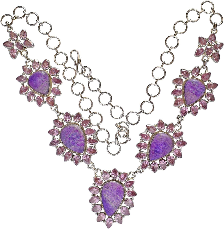 Collar de piedra de sugilita morada natural, cuarzo rosa, joyería hecha a mano, plata de ley maciza 925, FSJ-3371