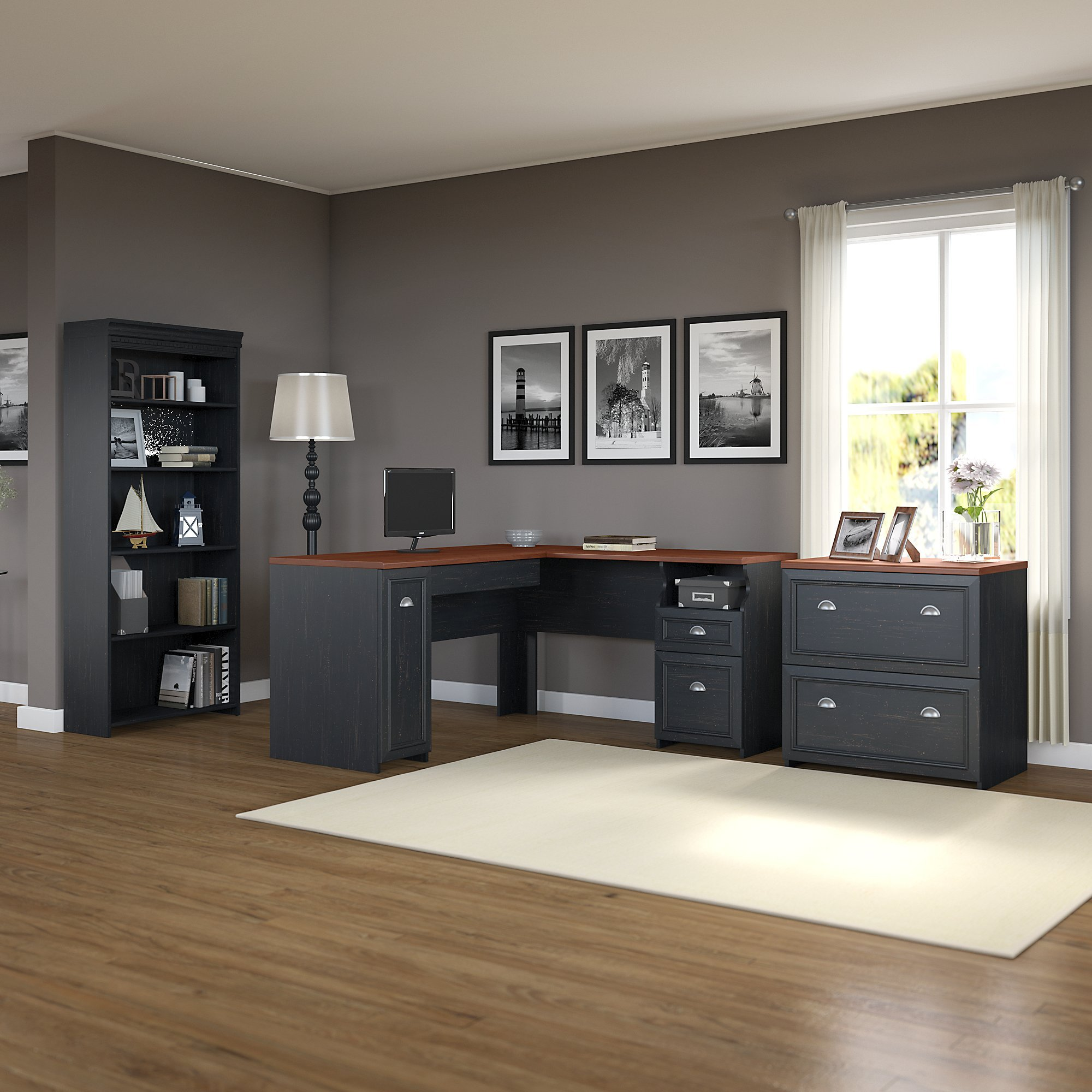 Fairview L Shaped Desk with Bookcase and Lateral File Cabinet