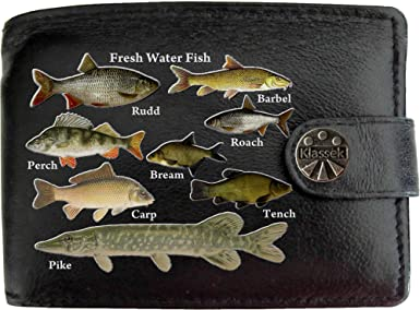 PERSONALISED FISH FISHING PRINT FAUX LEATHER MENS WALLET GIFT PRESENT BIRTHDAY
