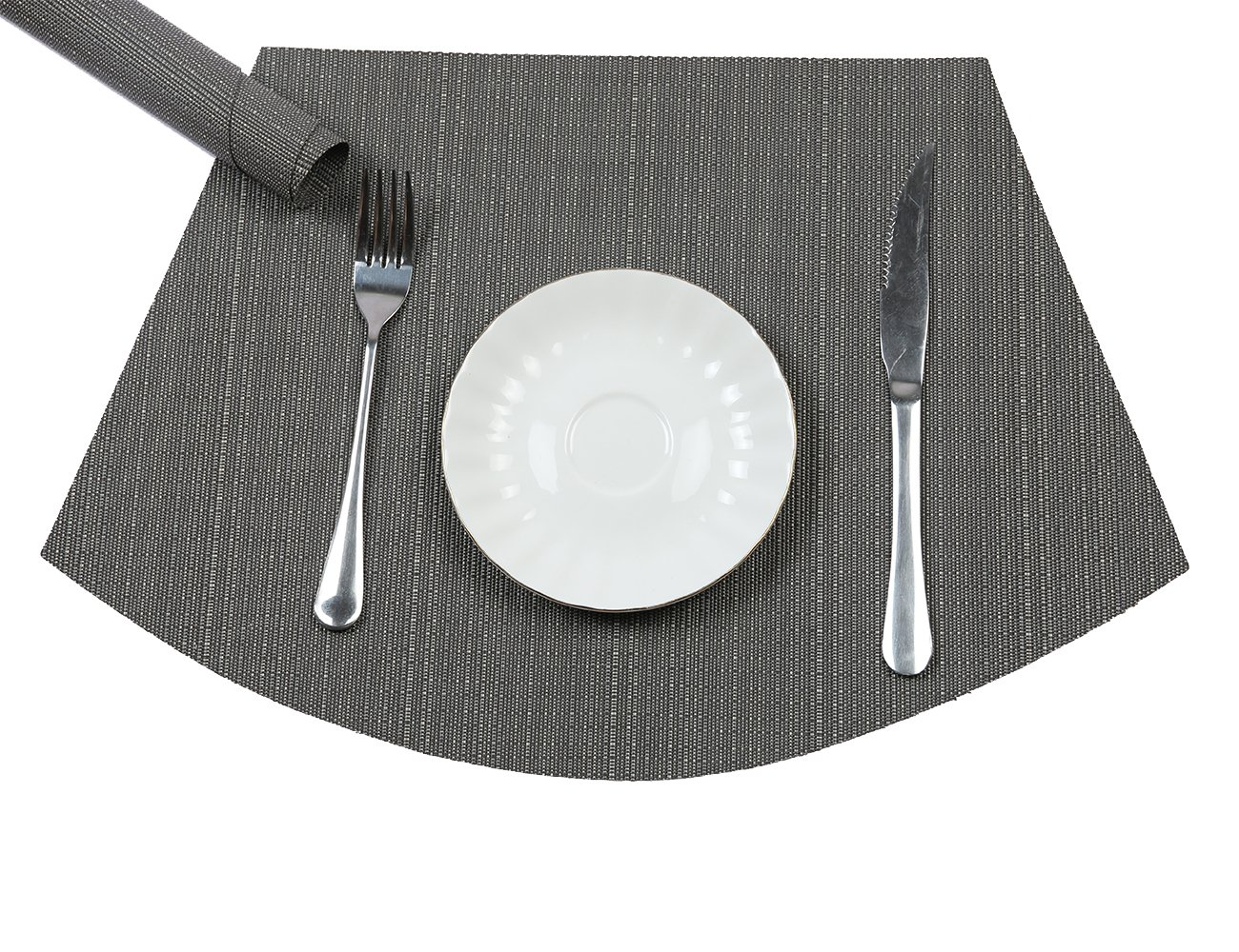 PAUWER Wedge Placemats for Round Tables Heat Insulation Stain-resistant Washable Vinyl Round Table Placemats Set of 6 (Grey)