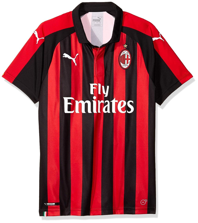Puma AC Milan Home Shirt Replica SS with Sponsor Logo, Maglietta Uomo 754419