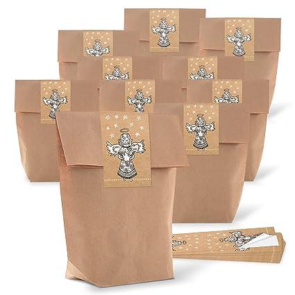 10 pequeñas bolsas marrones weihnac Papel bolsas de regalo ...