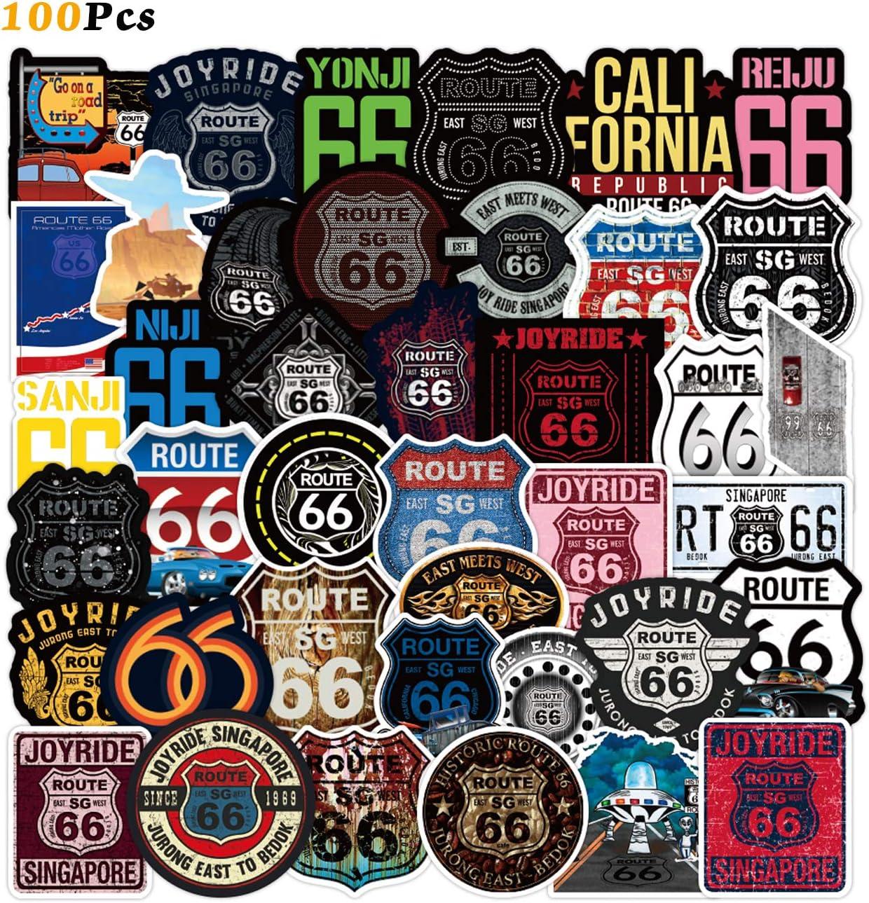 Glossy Laptop Waterbottle Sticker Route 66