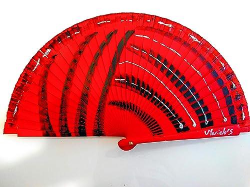 Abanico Español Rojo Pintado a Mano, serie