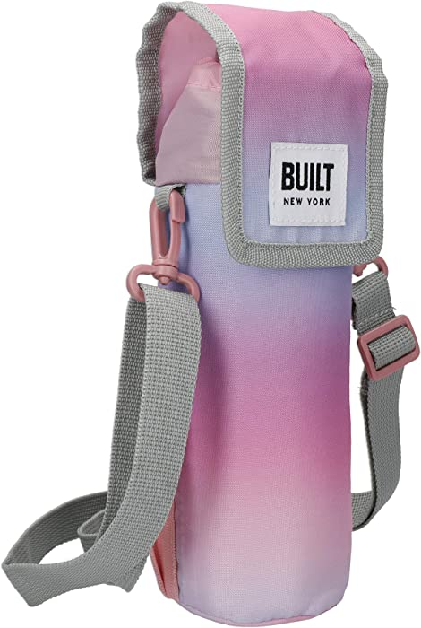 BUILT Insulated Bottle Bag with Shoulder Strap & 'Interactive' Design, 100 percent Polyester with Food Safe PEVA Lining, Multi Colour, 9 x 11 x 25cm