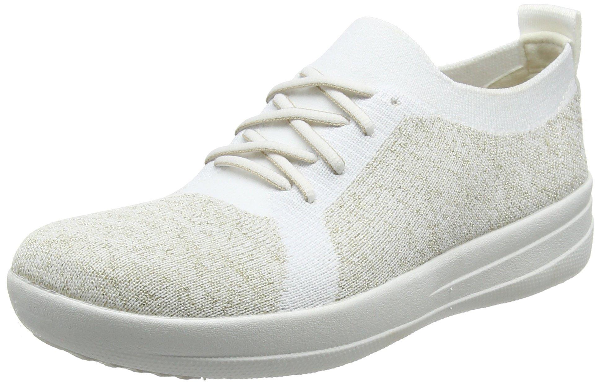FitFlop Women's F-Sporty Uberknit Sneakers Metallic Gold/Urban White 10 M US