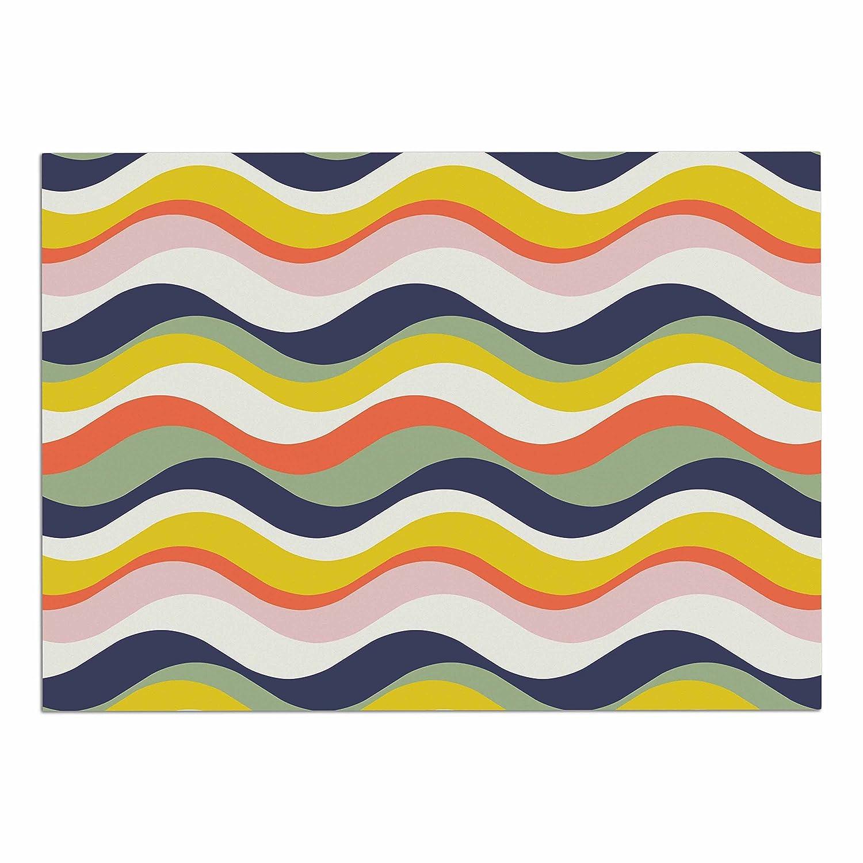 KESS InHouse Gukuuki Rainbow Stripes Multicolor Stripe Pet Bowl Placemat, 24  x 15