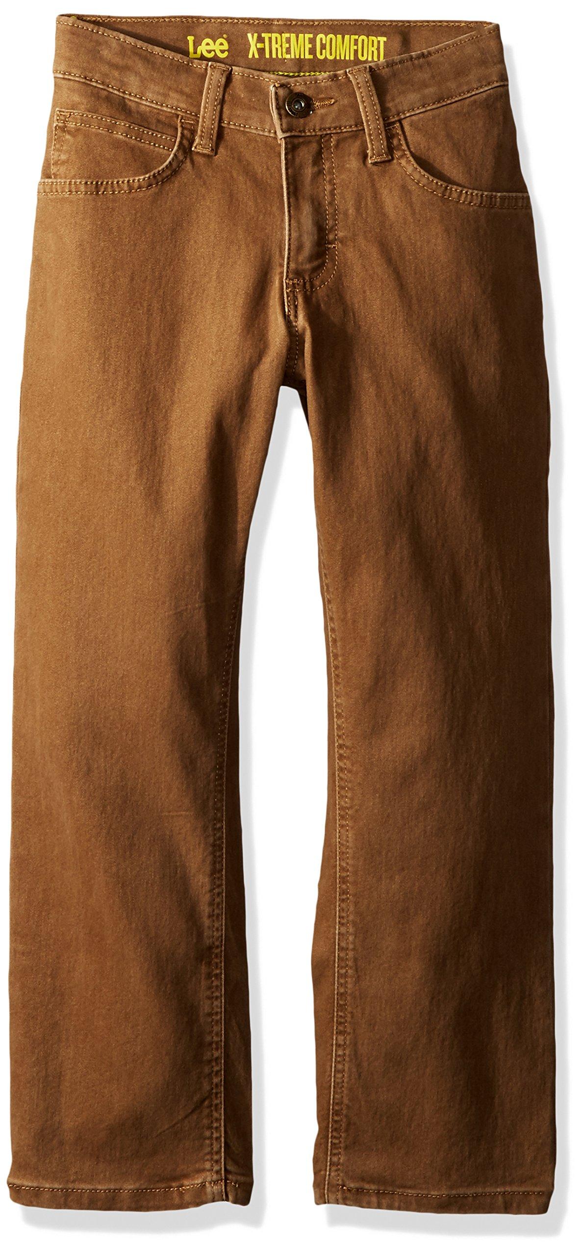LEE Boys' Big Sport Straight Fit Knit Jean, Dark Khaki, 14 Regular