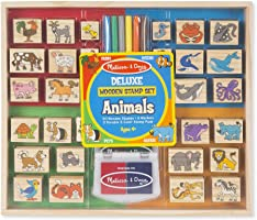 Melissa & Doug Deluxe Wooden Stamp Set, Animal Stamps (Colored Washable Ink Pads, Develops Hand-Eye Coordination, 38...
