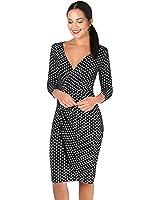 KRISP Womens 3/4 Sleeve Casual Simple Polka Dot Midi Wrap Chic Knee Length Dress