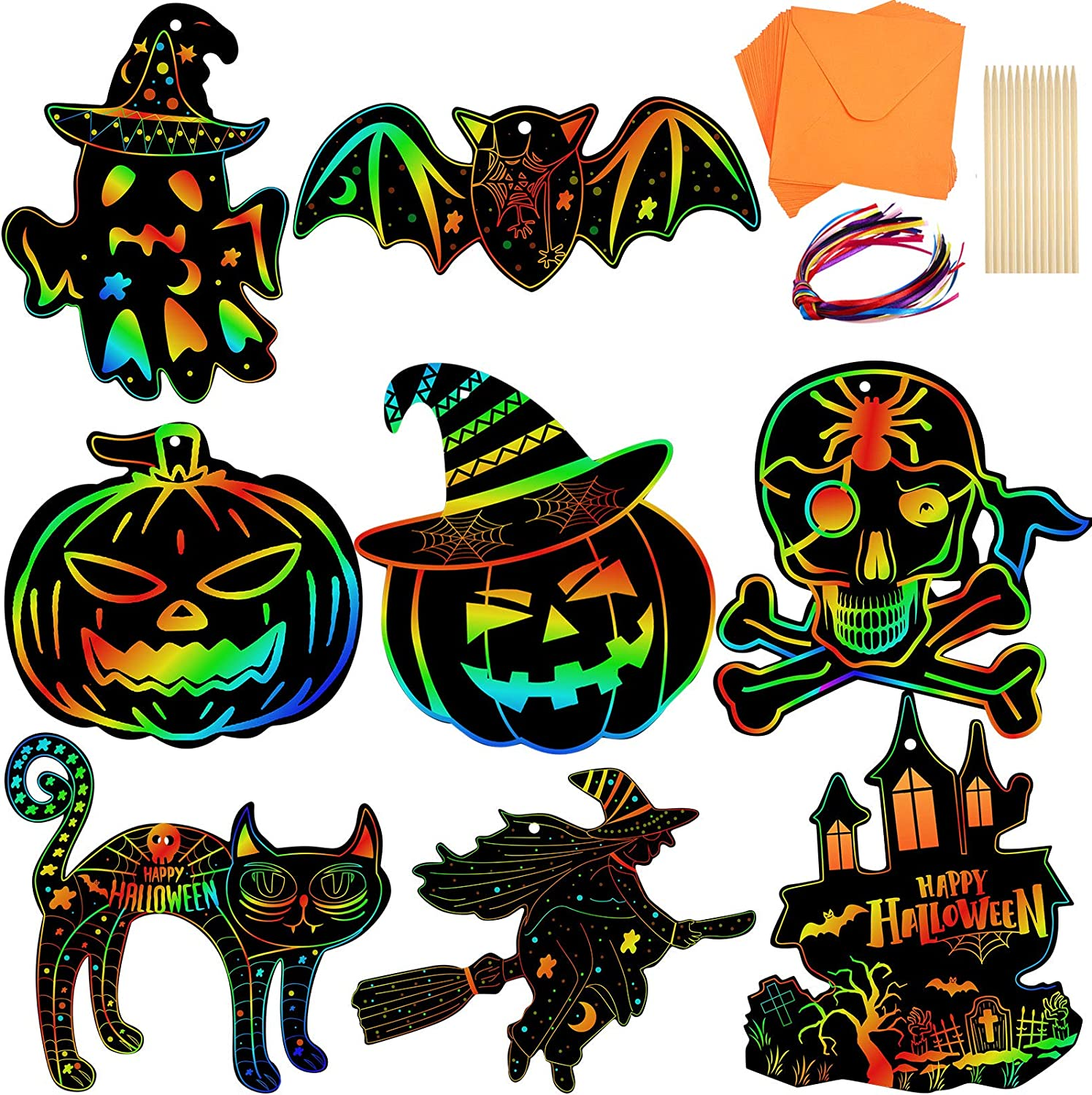Amazon Com 24 Pieces Halloween Scratch Craft Art Kit Rainbow Colorful Magic Scratch Paper Card Pumpkin Jack Witch Shape With Ribbons Wooden Scratch Tools And Envelopes For Halloween Theme Party Home Decorations Arts