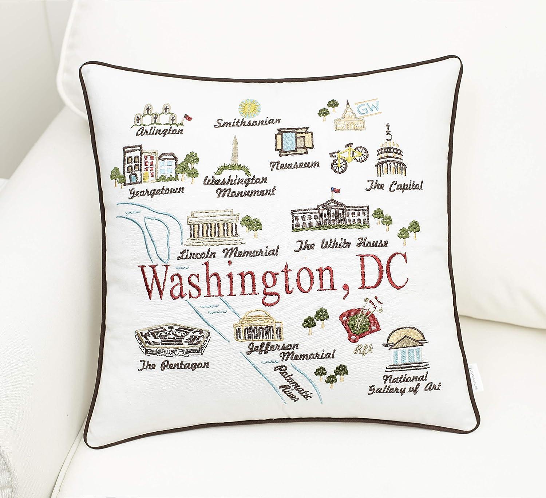 Amazon Com Eurasia Decor Washington Dc State Map 18x18 Embroidered Decorative Accent Pillow Cover Birthday Decor Graduation New Home Gift Home Kitchen