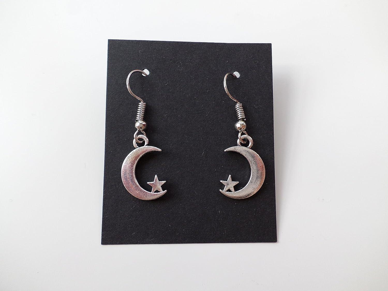 Mond Ohrringe/antik silber/Mond mit Stern