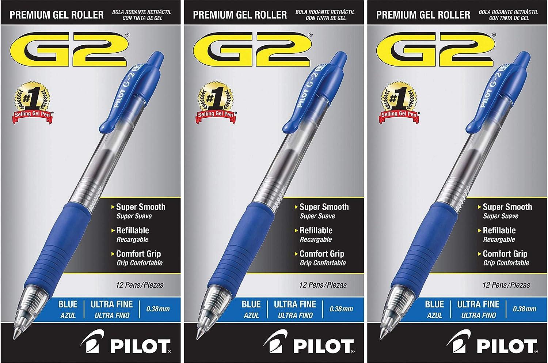 Blue Ink 2 Per Pack Fine Point PILOT G2 Gel Ink Refills For Rolling Ball Pens