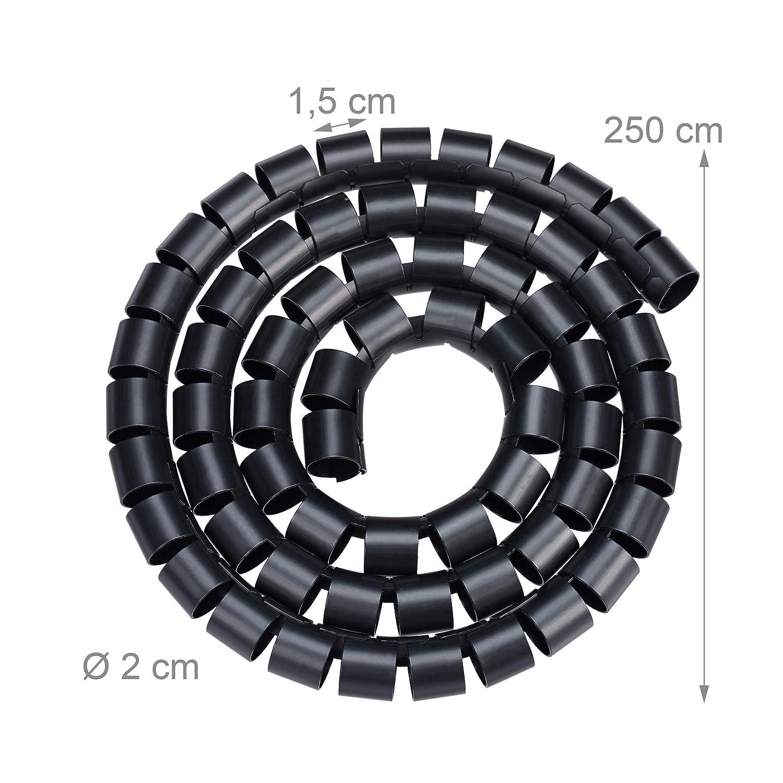 Blanc Relaxdays 10025035/_49 Range 1,5 m Cache Serre-c/âbles Spirale Gaine avec enfile-Aiguille Plastique